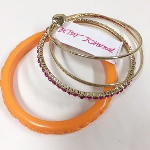 Betsey Johnson Orange Pink Bangle Bracelet Set 4